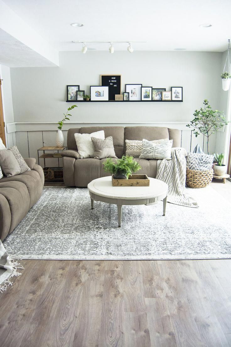 Looking for beautiful basement flooring that will stand up to water, pets and kids? Here is a modern farmhouse basement makeover with flooring made to last. #modernfarmhouse #basementflooring #basementremodel #fromhousetohaven
