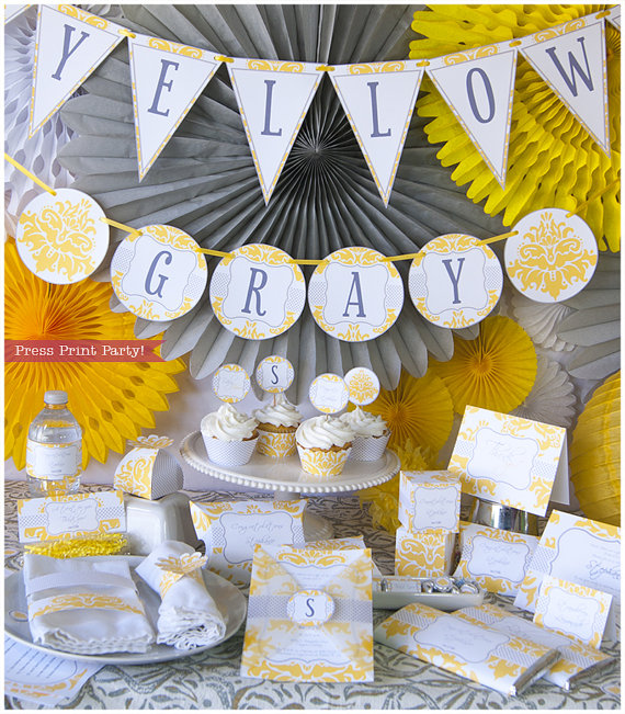 Yellow and Gray Baby Shower Printables - Gender Neutral Baby Shower Decorations - Damask - With BONUS baby shower games