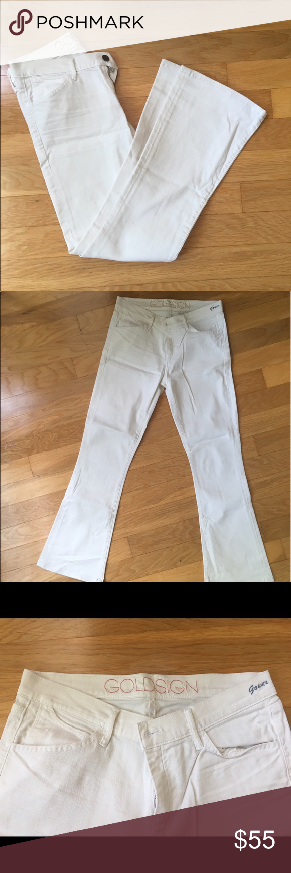 "Goldsign off white flare jeans Goldsign Gower jeans in soft white color. Flare leg. Never used. Legs altered to fit me and I am 5'5"". Slight distressing. Beautiful and very comfortable. Goldsign Jeans Flare & Wide Leg"
