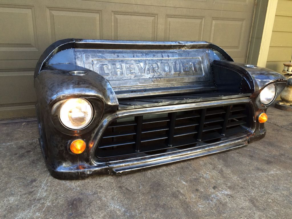 Bare Steelbench Made From A 1955 Chevy Truck Front Clip Black Oak Ford F100 Side Mirrors Seat And Tailgate Working Headlights Park Lights By Relics Awry