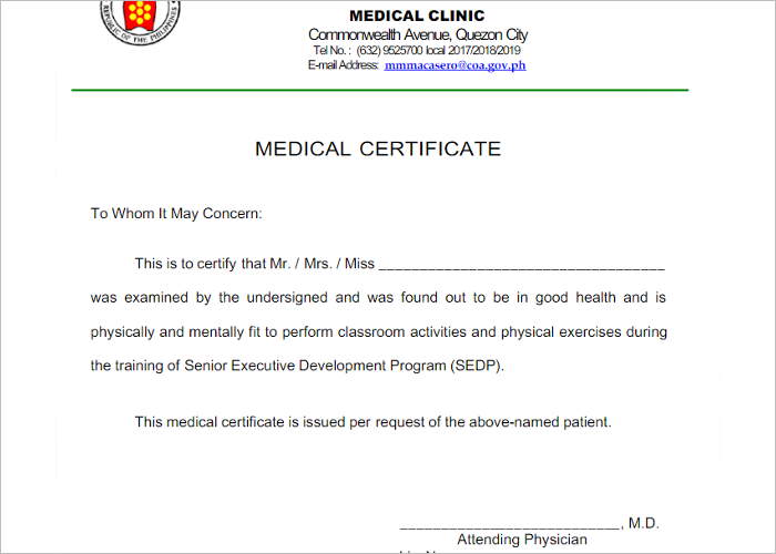 Medical Certificate Samples | 24+ Free Printable Word & PDF ...