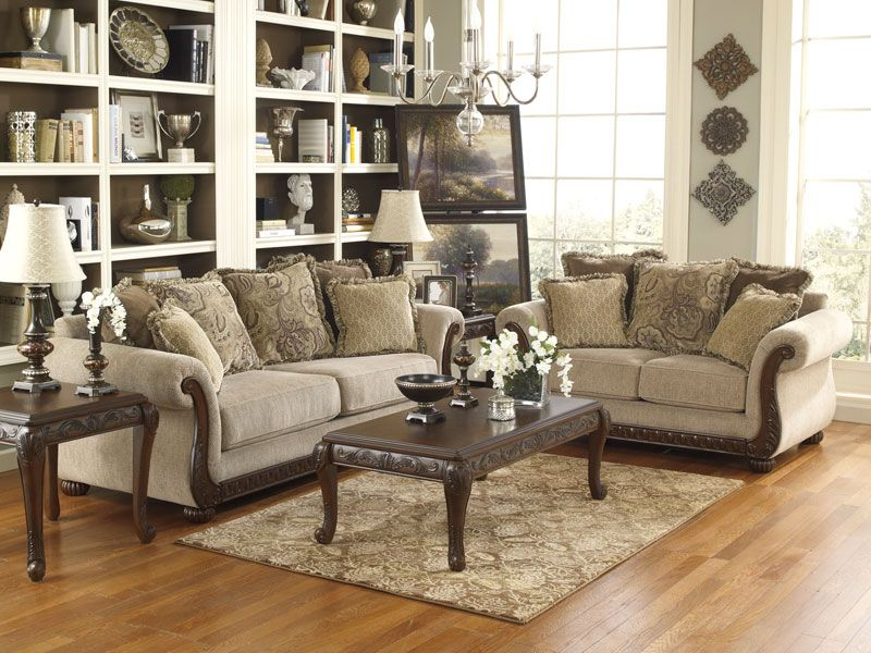 marco  old world wood trim chenille fabric sofa couch set