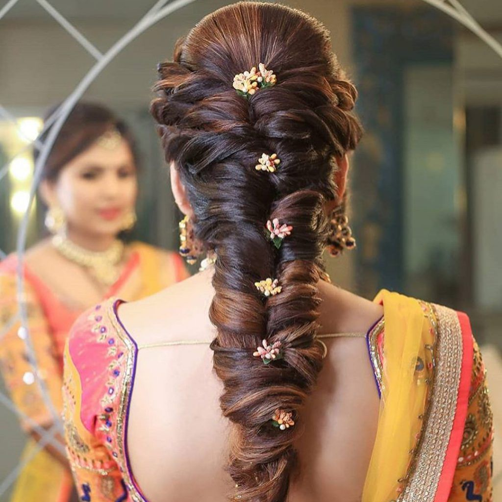 25 Pre Wedding Hairstyles For Mehndi Haldi Or More Functions Hair Styles Hair Braid Videos Bridesmaid Hair Long