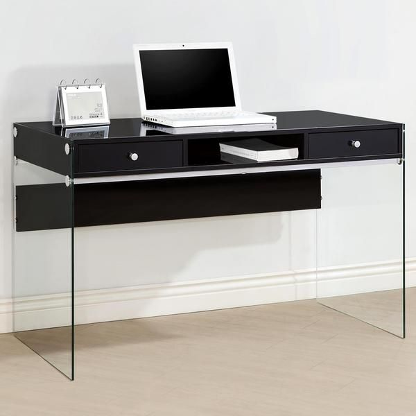Contemporary Modern Style Glass Home Office Glossy Black Computer