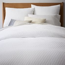 Embroidered Border Linen Duvet Cover + Shams