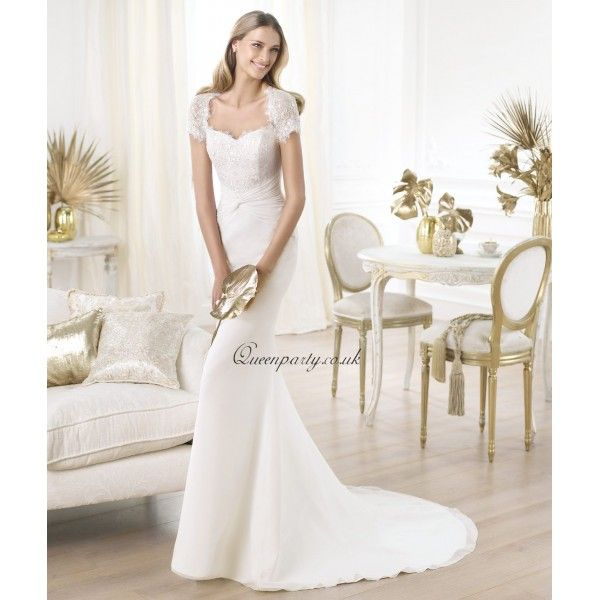 Cap Sleeve Lace Sheath Wedding Dress With Sweetheart Neckline