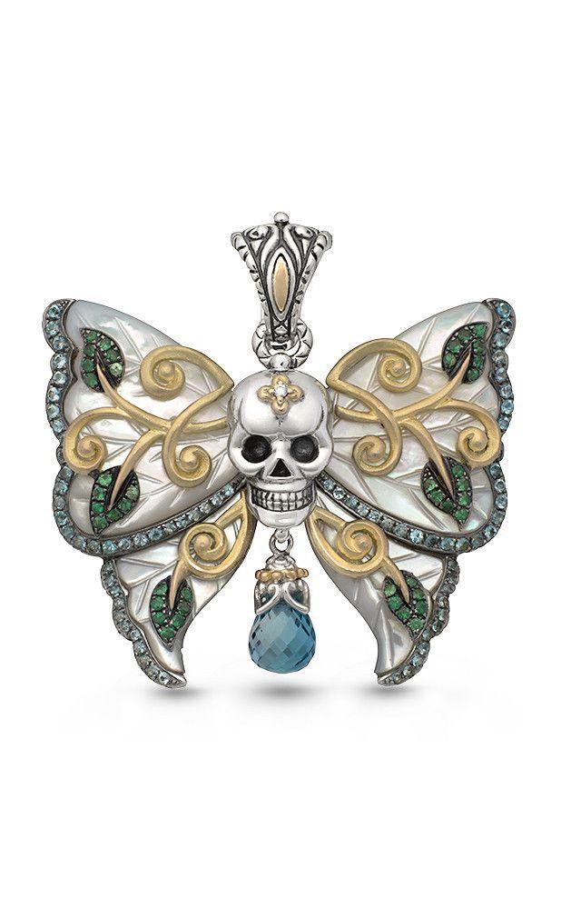 Zen Garden Butterfly Skull Pendant – White Mother of Pearl, Diamonds, – Barbara Bixby