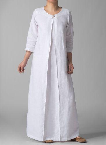 3/4 Sleeve Linen Long White Dress