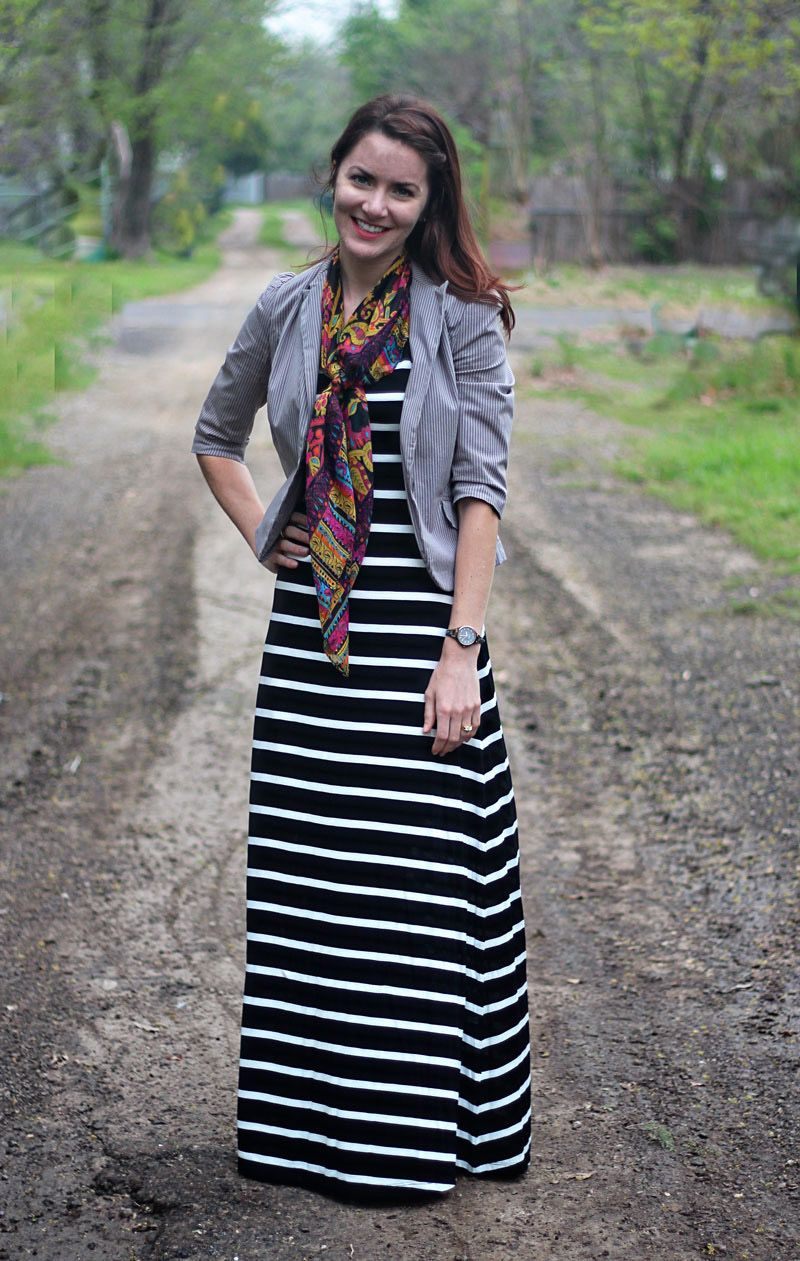 Striped Maxi Dress And Patterned Scarf Outfit Ideas In 2018 Tendencies Long Pants Ash Grey Denim Stretch Abu Tua 34