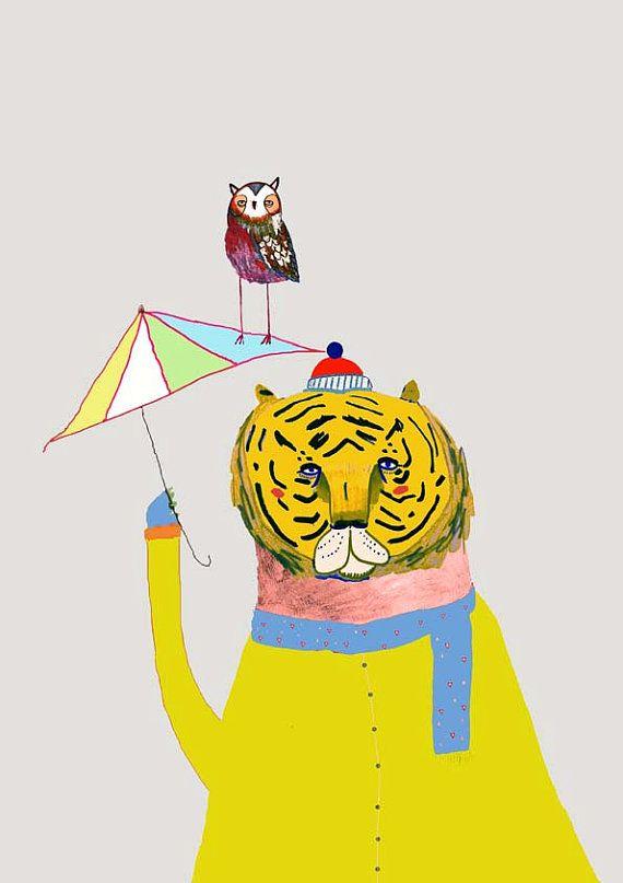 Boy nursery art girl nursery room decor cat print illustration ...