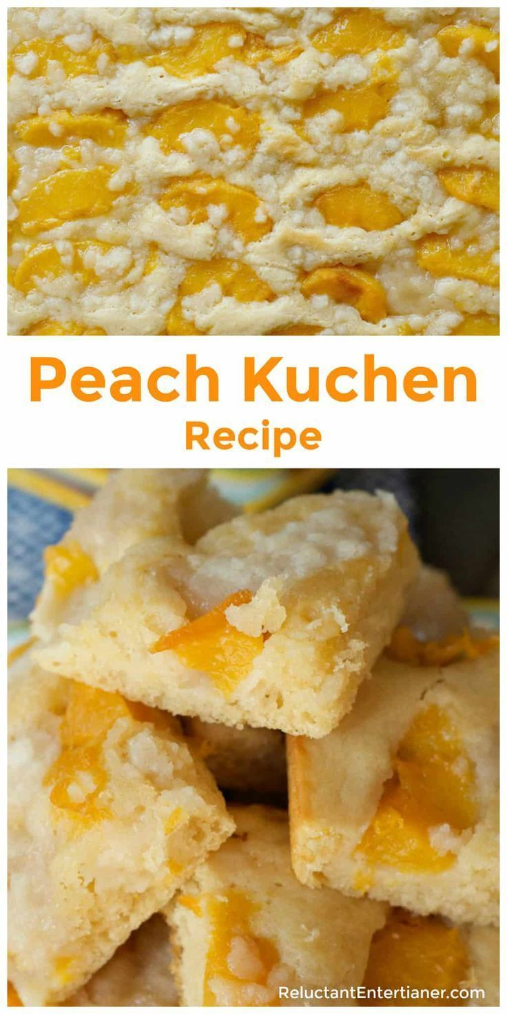 Moist Peach Kuchen Recipe is made with fresh or canned peaches; the perfect summer cake dessert served warm with whipped cream or Vanilla ice cream! via @sandycoughlin Peach Kuchen Recipe is made with fresh or canned peaches; the perfect summer cake dessert served warm with whipped cream or Vanilla ice cream! via @sandycoughlin