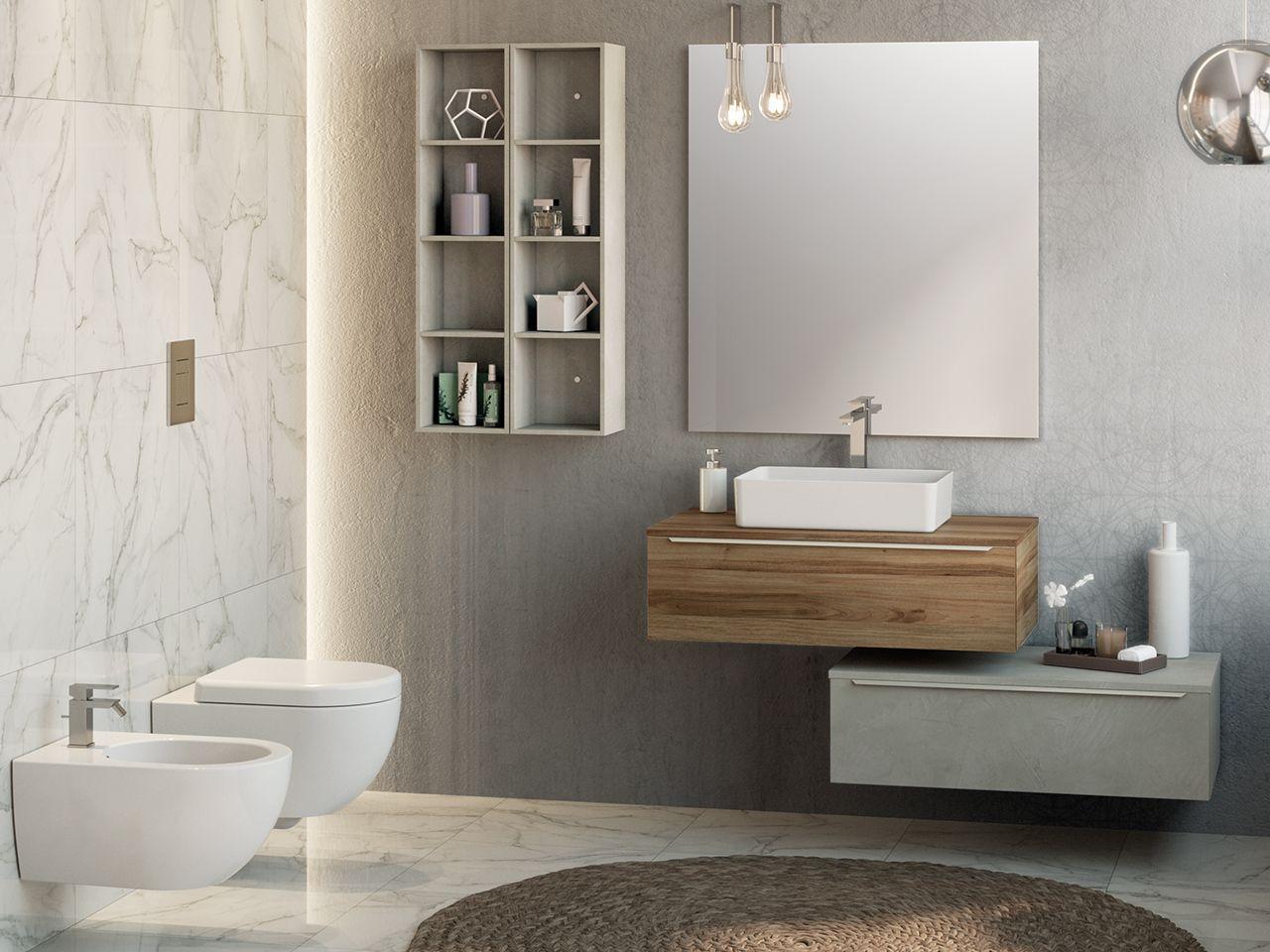 Mobile bagno trendy 90 cm noce con toppino per lavabo