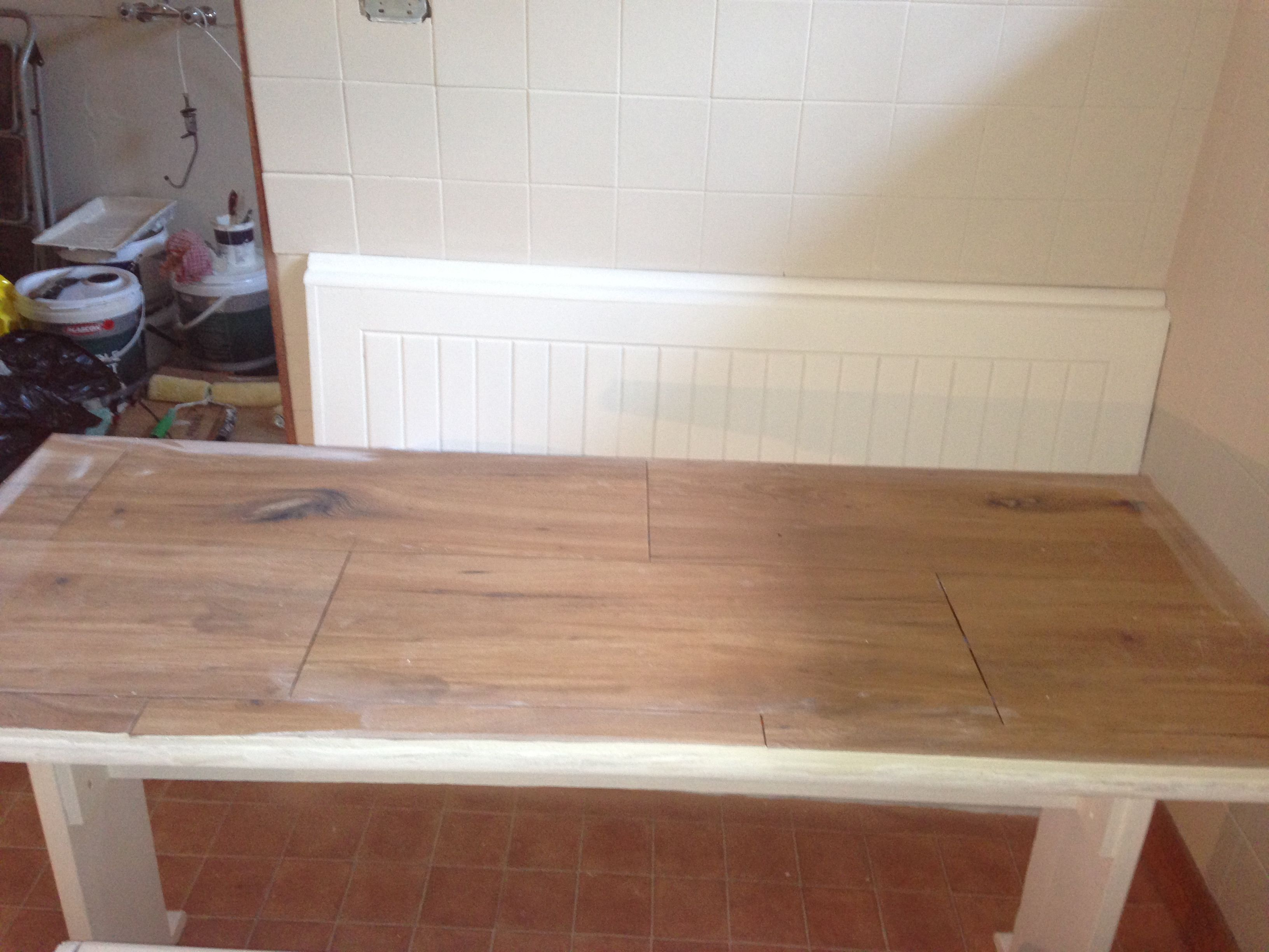 Budget Kitchen Makeover Wood Look Tile Countertop