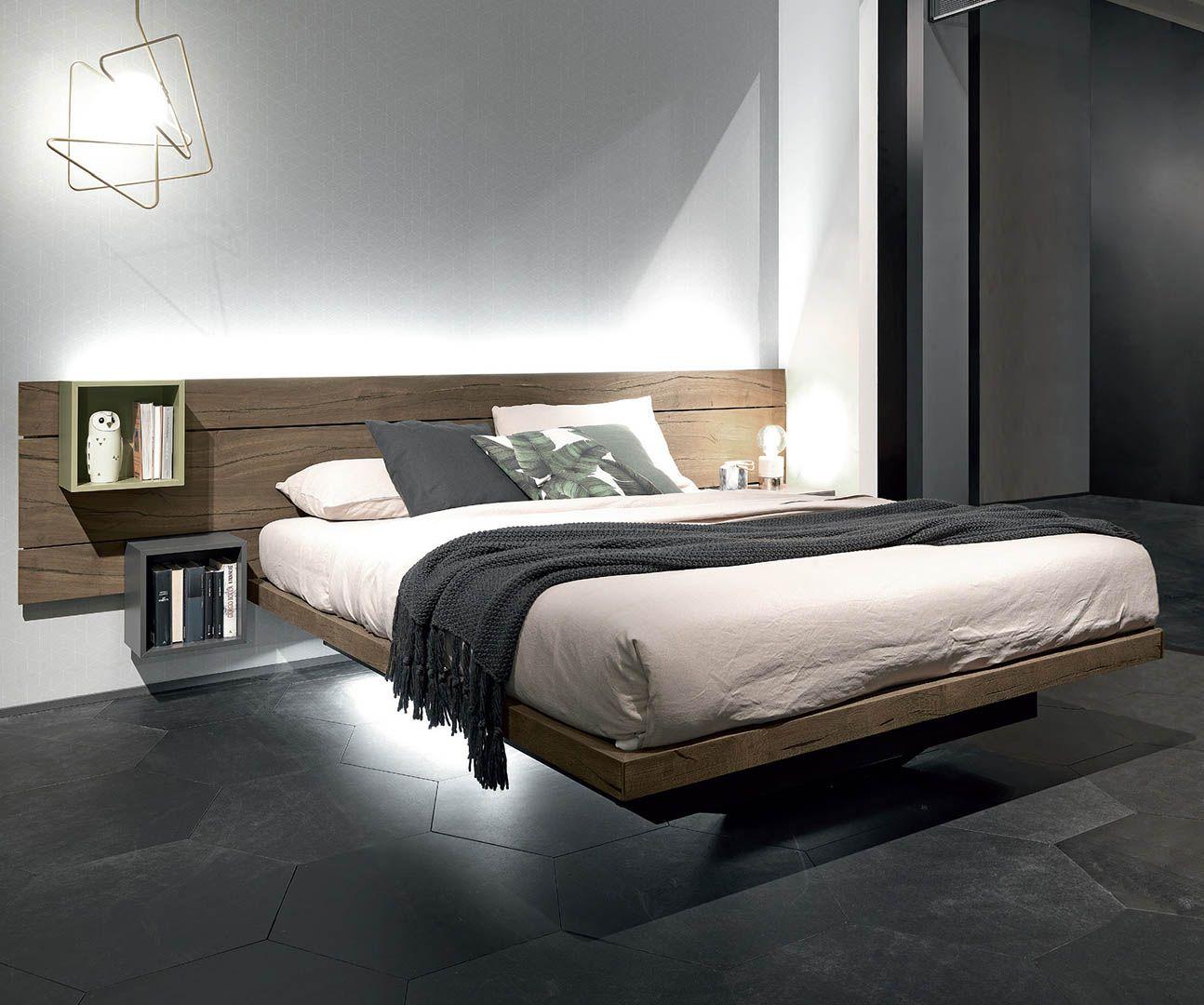 Fimar produce letti moderni sospesi con contenitore armadi design e complementi notte porta tv