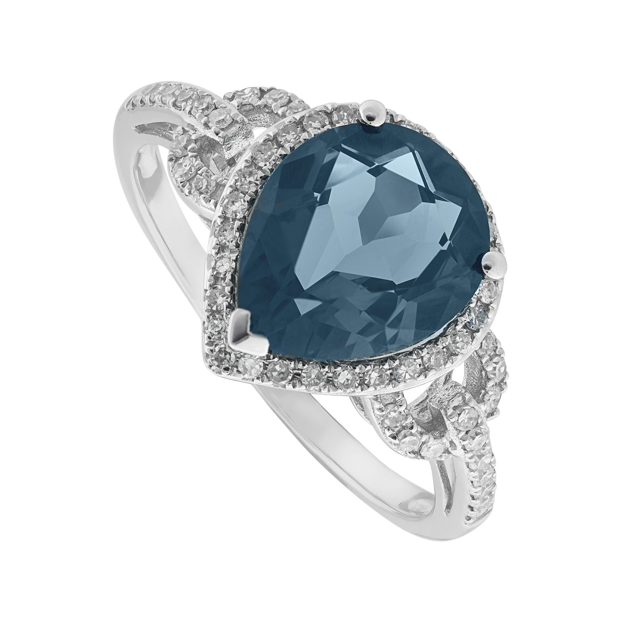 9ct White Gold Pear London Blue Topaz And 023 Carat Diamond Ring