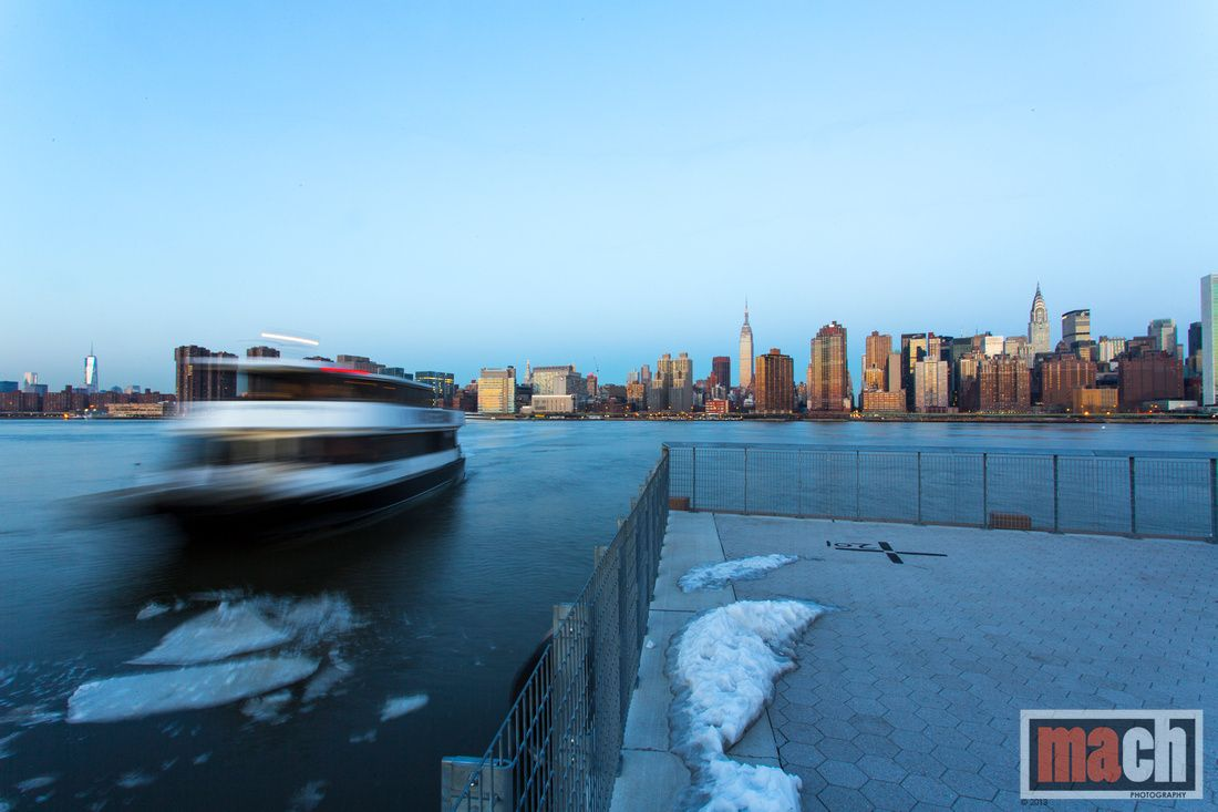 Ferry on East River heading to Manhattan,  New York City