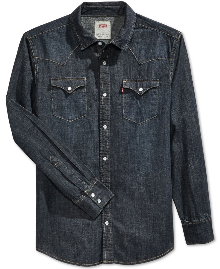 3c9e1efdf4 Levi s Men s Standard Barstow Western Long-Sleeve Denim Shirt ...