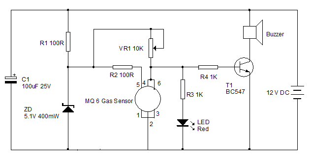 Lpg Gas Sensor Circuit And Its Working Gas Detector Electrical Projects Circuit