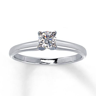 Diamond Solitaire Ring 1/3 carat Round-Cut  14K White Gold. Simplicity at its finest