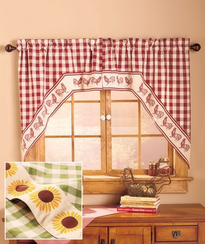 Kitchen Curtains Sunflower Design: Country Yellow Sunflower Flower Gingham Curtain Swag Set