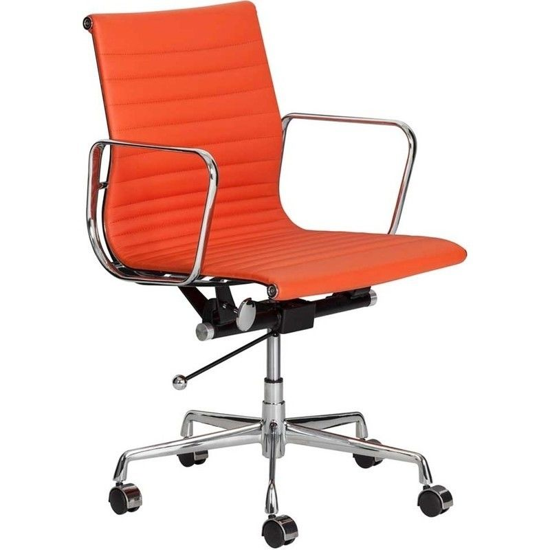 Replica Eames Faux Leather Office Chair In Orange Eames Office