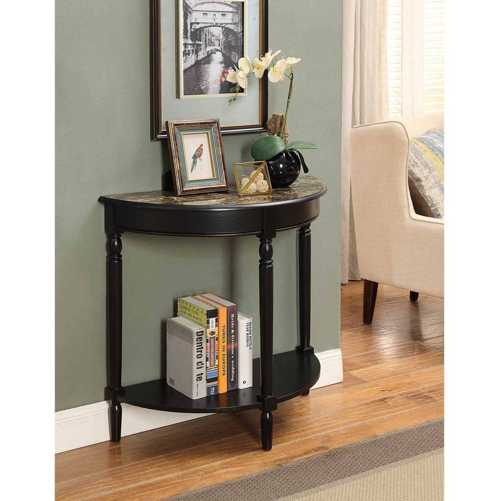 Half Moon Entry Table Hall Furniture Wood Console Faux Marble