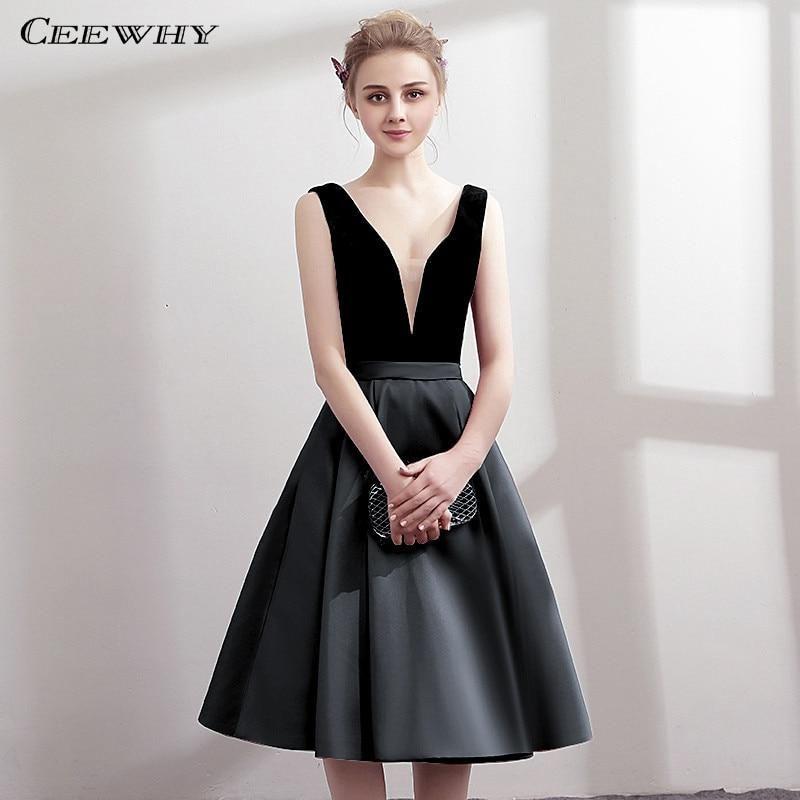 770bb6a8f CEEWHY V-Neck Open Back Satin Dress Elegant Knee Length Cocktail Dresses  Short Graduation Dresses