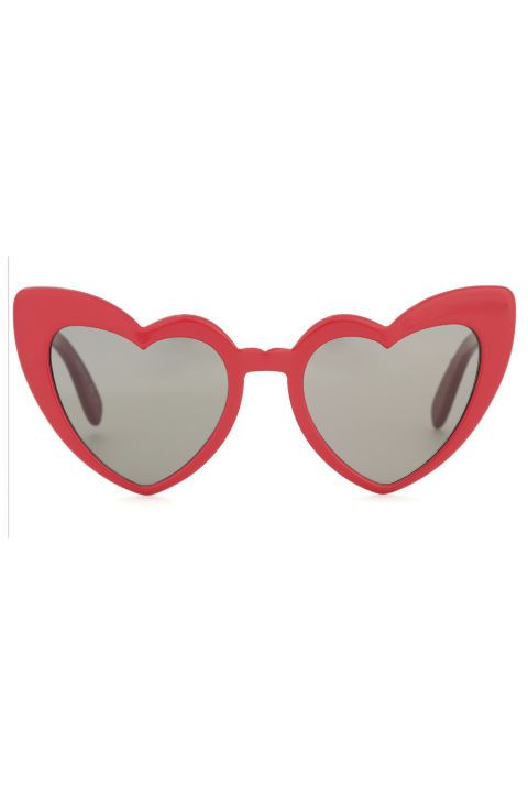 Go bold with these red heart shaped sunglasses from Saint Laurent.