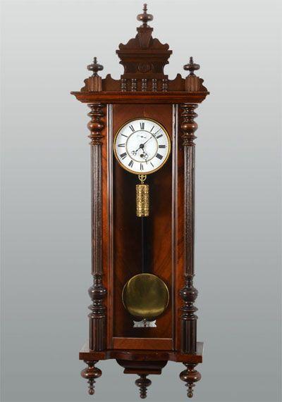 German walnut single weight vienna regulator with porcelain dial