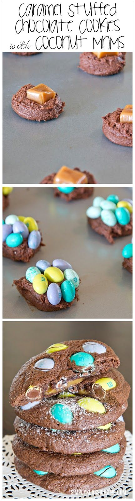 Caramel Stuffed Chocolate Cookies with Coconut MnMs www.simplyklassichome.com