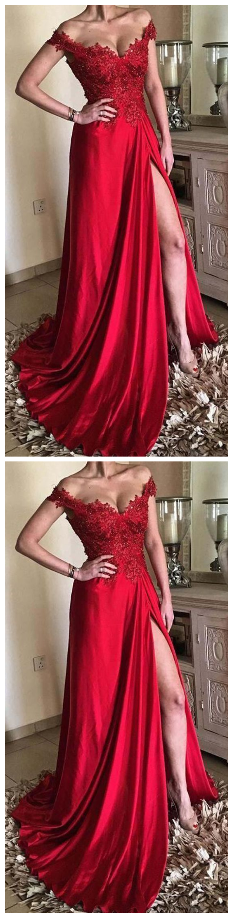 Off The Shoulder Prom Dress Long Red Prom Dress Prom Dress With Sleeves In 2021 Dresses Prom Dresses With Sleeves Red Prom Dress [ 1886 x 480 Pixel ]