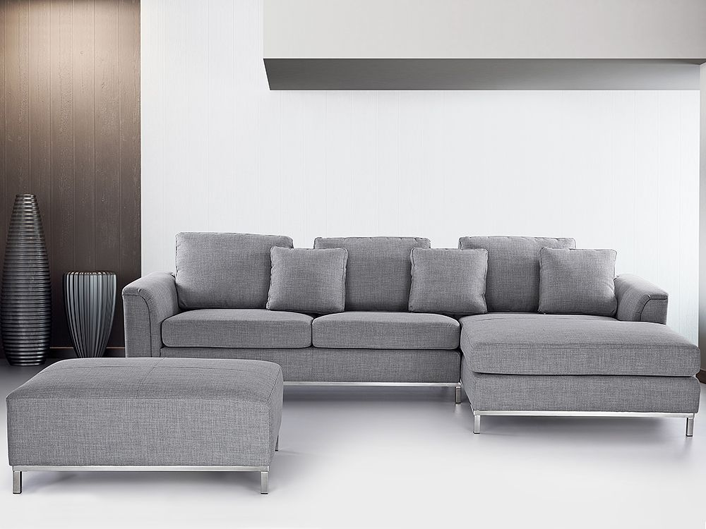 Modern Sectional Sofa in Fabric with Ottoman - OSLO Light ...