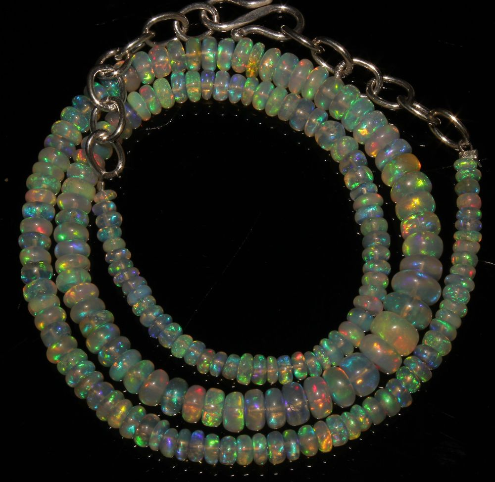 """44 Crts 1 Strands 3 to 6 mm 14"""" Beads necklace Ethiopian Welo Opal  AA+++737"""
