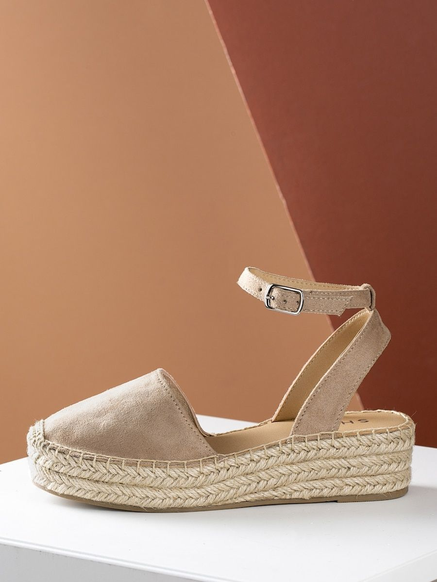 cf67523eaff Closed Toe Espadrille Platform Wedge Sandal TAUPE | SHEIN | shoes ...