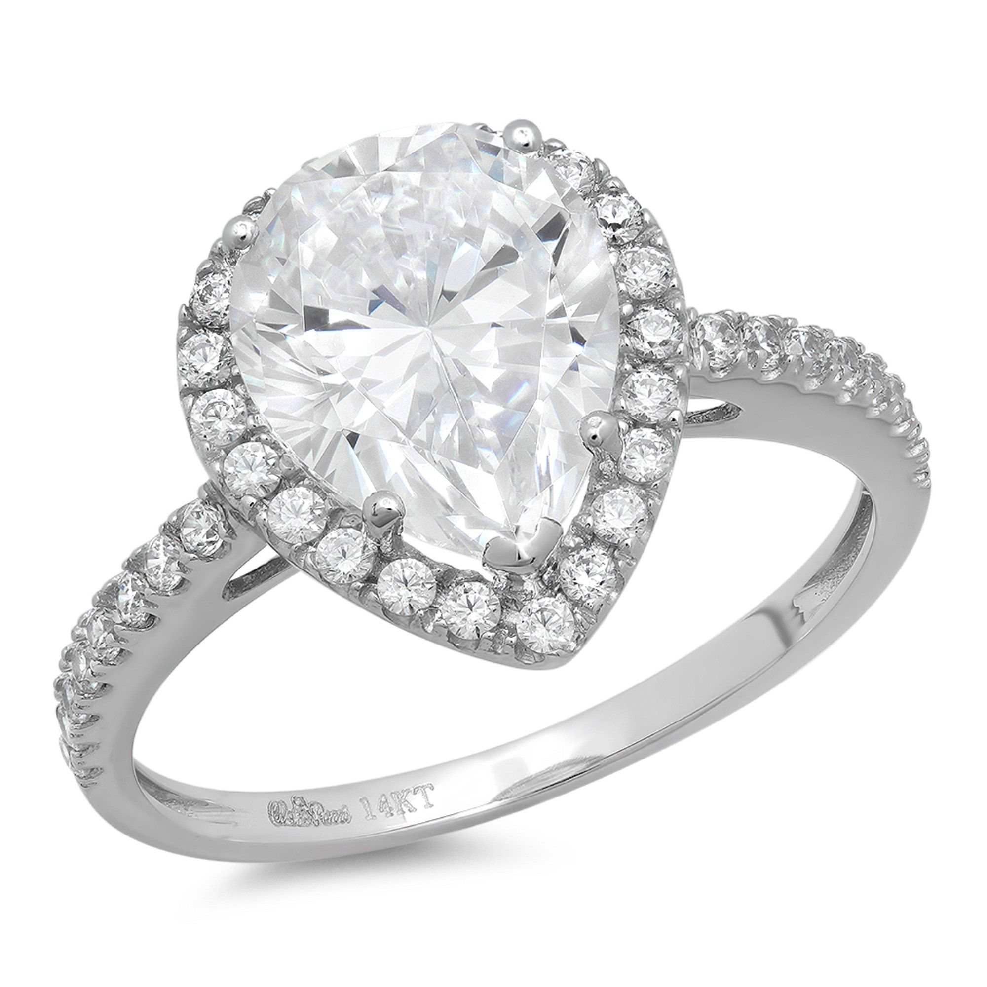 Clara pucci ct pear cut halo solitaire wedding engagement ring