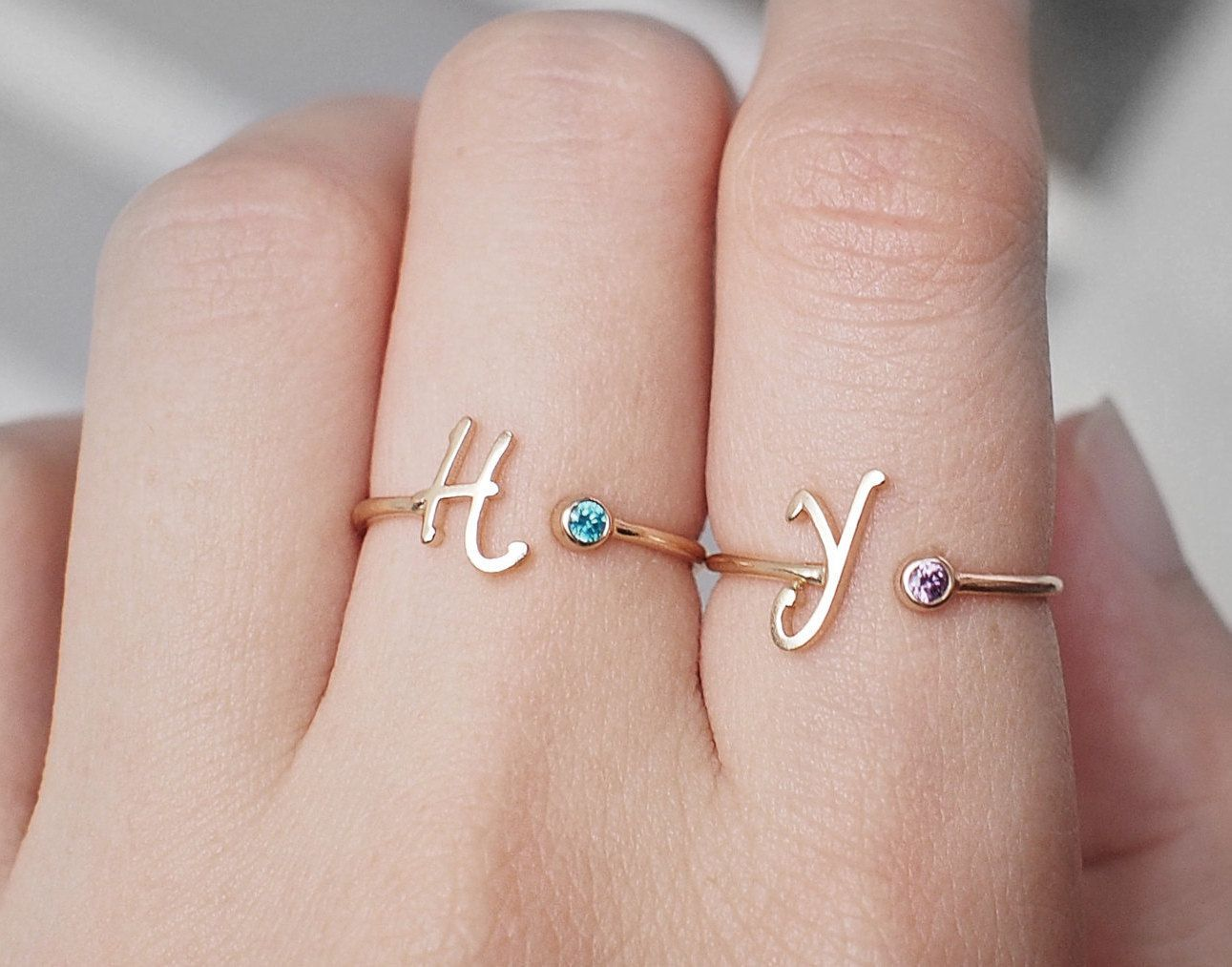 Sterling Silver Mothers Ring  Monogram Name Ring Gift  Minimalist Initial Ring Custom Ring Dainty Initial Letter Ring Rose Gold Aquamarine