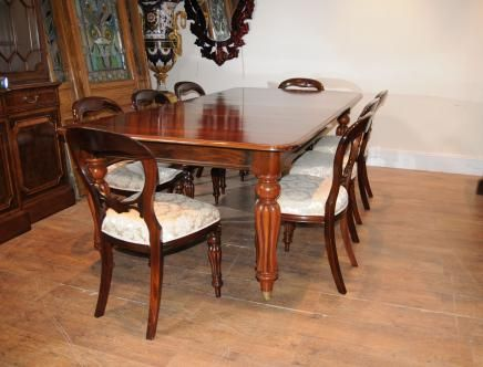 victorian mahogany dining table set chairs balloon back | dining