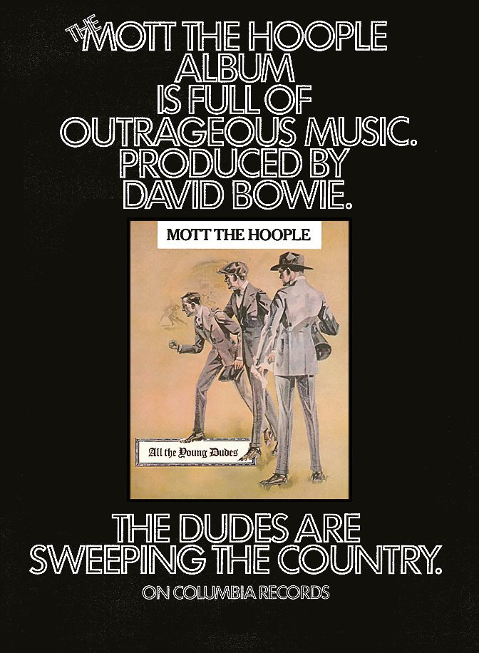 Mott The Hoople All The Young Dudes Billboard Advertise 1972 All The Young Dudes Mott The Hoople Hoople