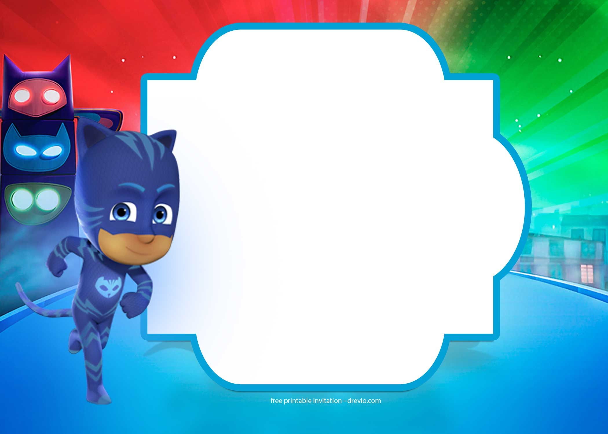 Superior Download Now FREE PJ Masks Birthday Invitation Templates
