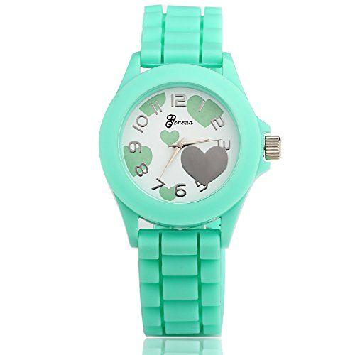 49% Off was $13.00, now is $6.57! HACBIWA Boys Girls Heart Shape Fashion Cute Analog Wrist Watches Mint Green