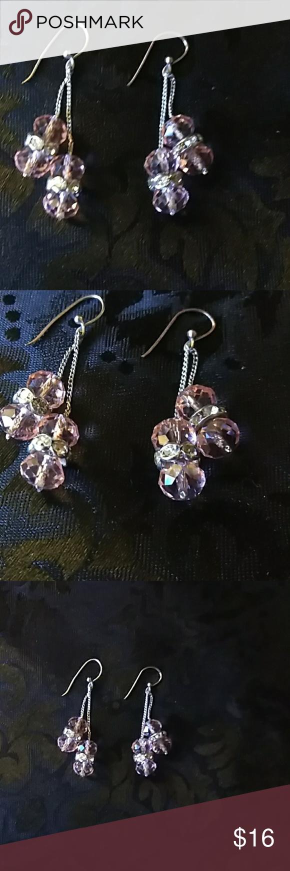Vintage suarski crystal earrings sterling hook Vintage