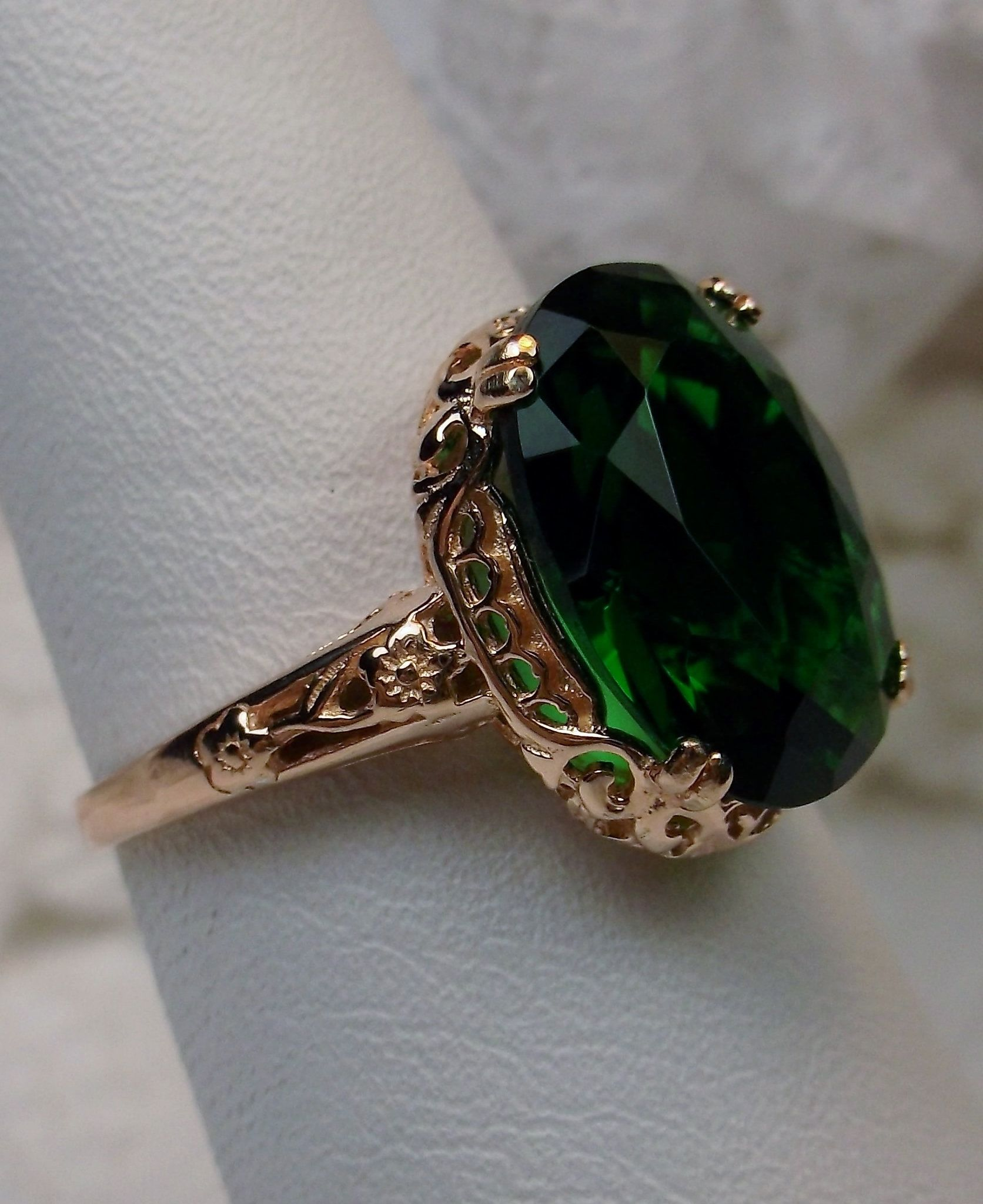 Lab Synthetic Green Emerald Gemstone Solid 10k Rose Gold Edwardian Design Motif Filigree Antique Filigree Jewelry Edwardian Jewelry Blue Topaz Sterling Silver