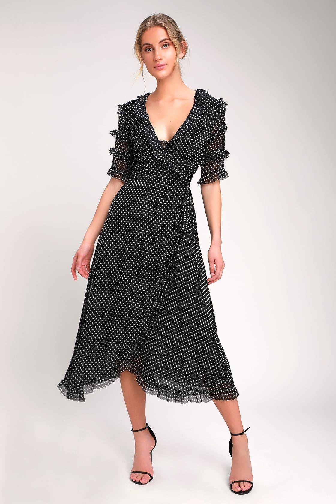 ddefd7b9a00f City View Black Floral Print Ruffled Wrap Midi Dress in 2019 ...
