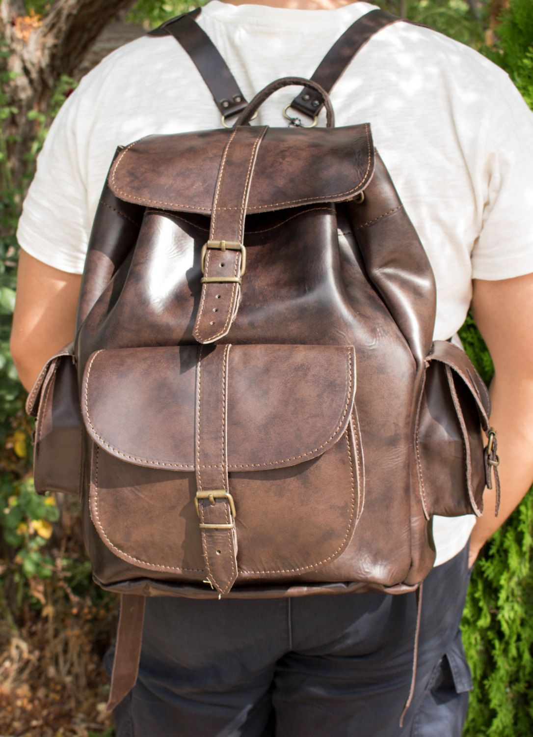 Leather Backpack Handmade Leather three pocket Rucksack Dark Brown travel  bag EXTRA LARGE (145.00 EUR) by MagusLeather bdb0d55e8e461