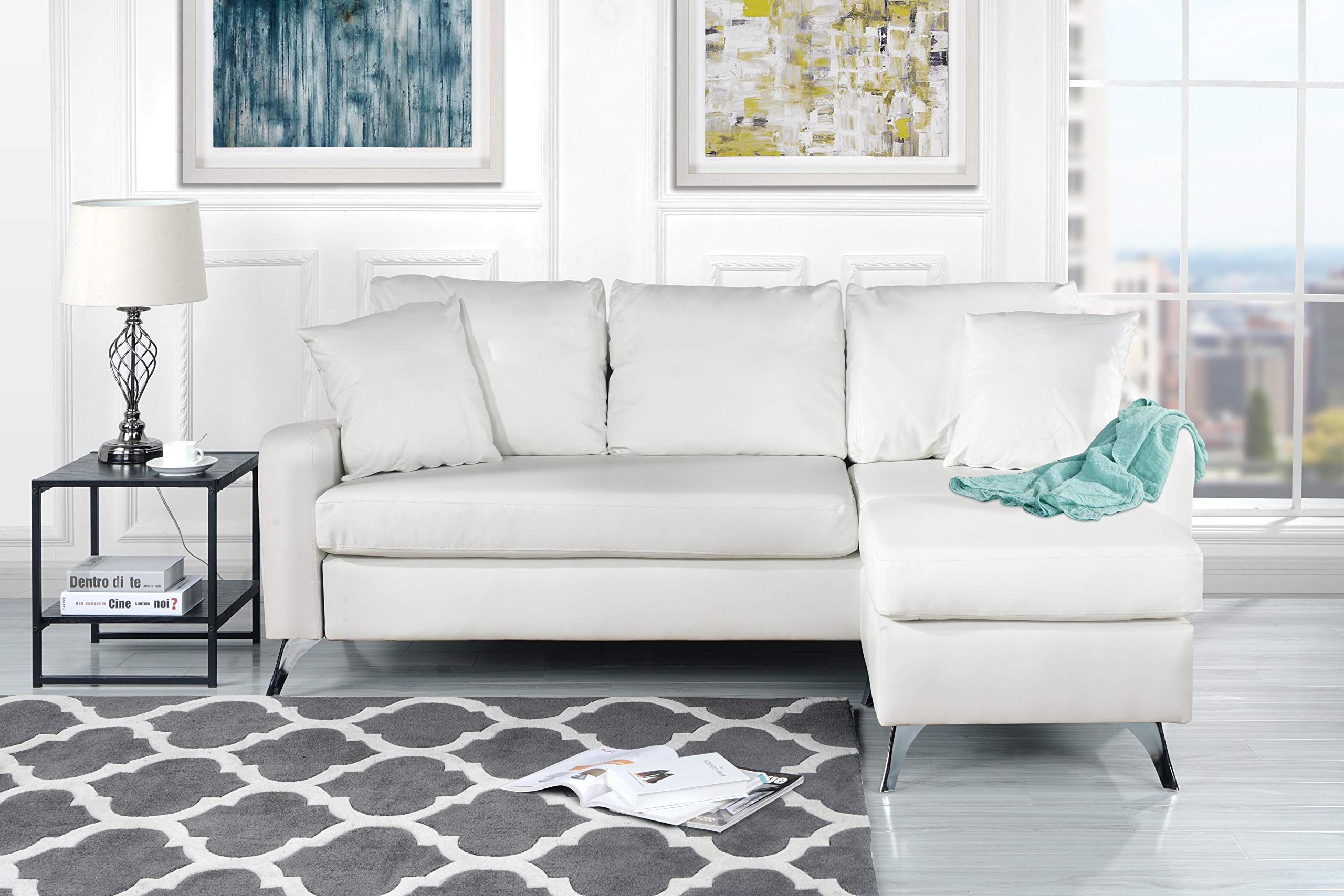 Divano Roma Furniture Bonded Sectional White Lavorist Sofas For Small Spaces Small Sectional Sofa Furniture