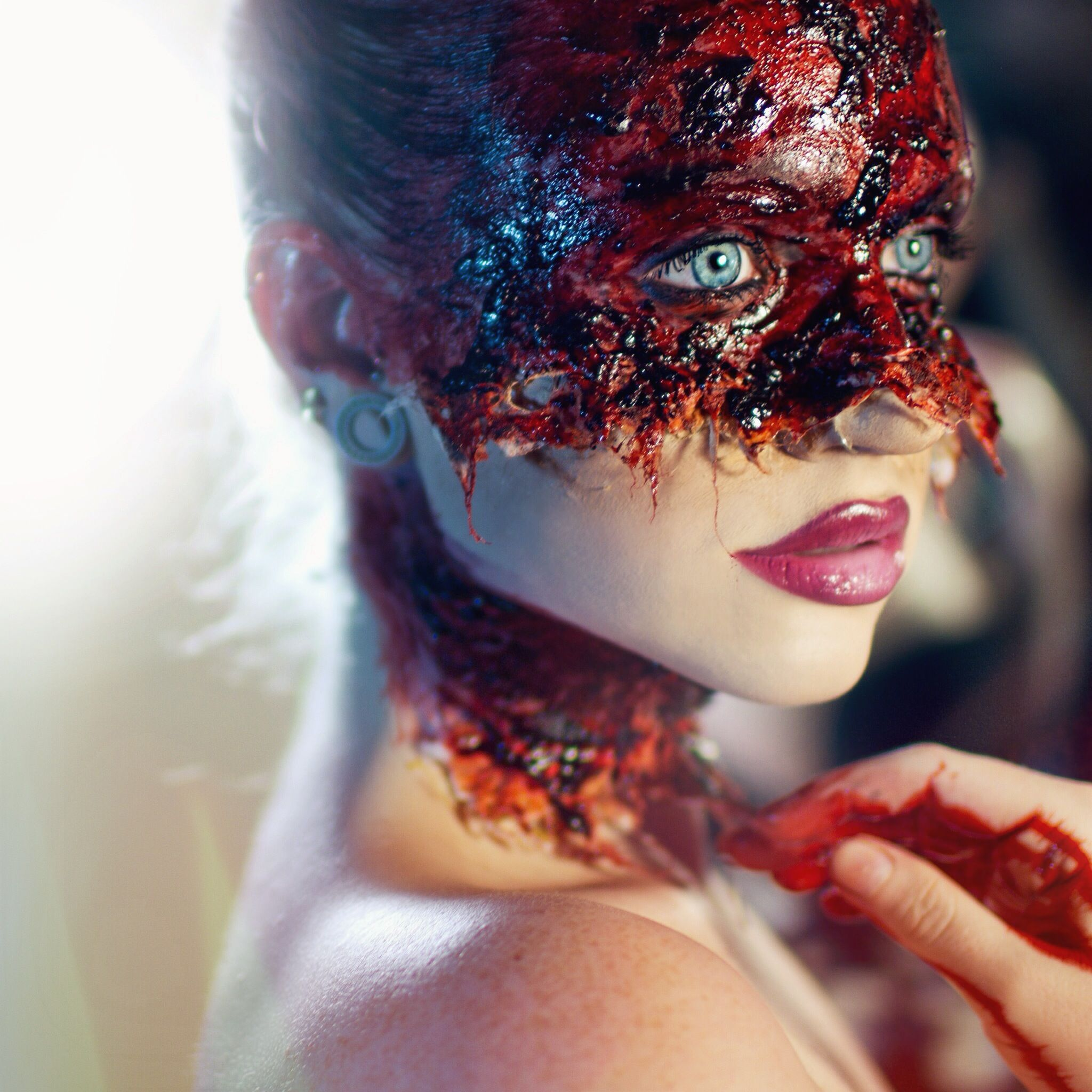 Peeled bloody face using cotton and liquid latex For more looks ...