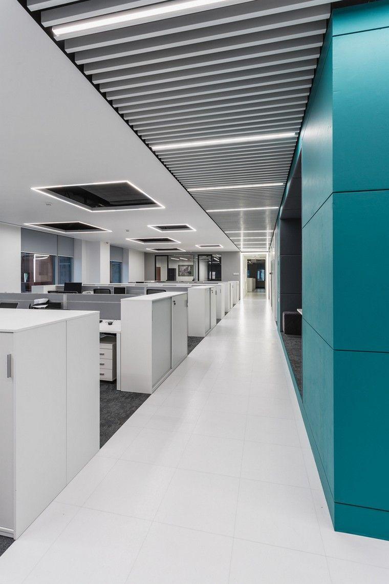 faux plafond moderne design éclairage espace travail design ...