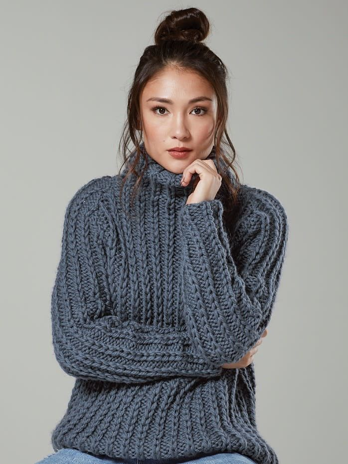 Turtleneck Ribbed Knit Sweater   ROMWE