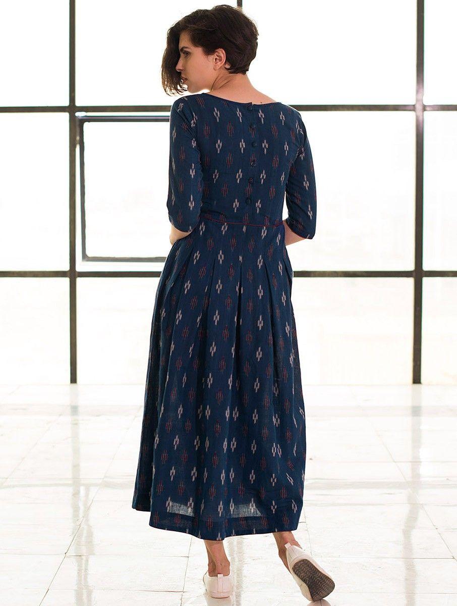 67289f0716a2 Buy Blue Box Pleated Handloom Ikat Cotton Dress Online at Jaypore.com Cotton  Dresses Online