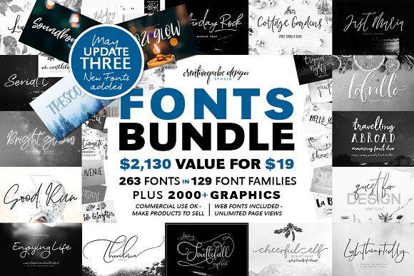 Download 129 Fonts Bundle | FREE Updates #fonts #fontsfordesigners ...